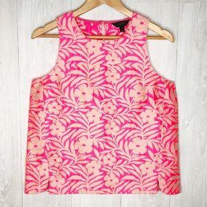 [J. Crew] Neon Pink Floral Brocade Top Sz. 8